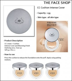 Phấn Nước The Face Shop CC Cushion Intense Cover SPF50+ PA+++ - Phan Nuoc The Face Shop CC Cushion Intense Cover SPF50+ PA+++