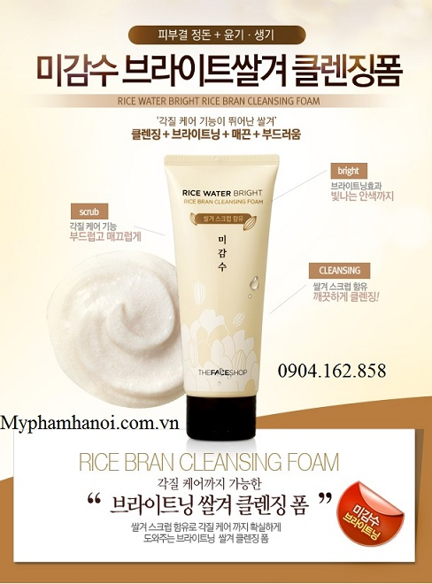Sữa Rửa Mặt Gạo Rice Water Bright Rice Bran Cleansing Foam The Face Shop - Sua Rua Mat Gao Rice Water Bright Rice Bran Cleansing Foam The Face Shop