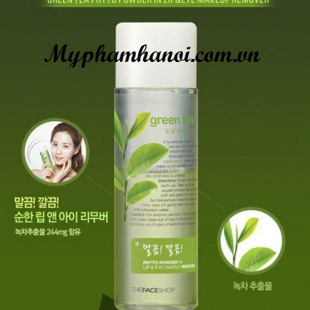 Tẩy trang mắt môi trà xanh The Face Shop Phyto Powder In Lip & Eye Makeup Remover Green Tea - Tay trang mat moi tra xanh The Face Shop Phyto Powder In Lip & Eye Makeup Remover Green Tea